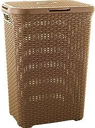 Curver 707 Dark Mocha Laundry Basket Wicker Look Polypropylene