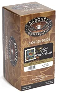 Baronet Coffee 100% Colombian Decaf Coffee, Medium Roast, 16-Count Pods (Pack of 3)