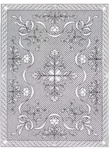 """Pre-Printed Pre Stenciled Wholecloth Quilt Top with Binding and Backing Floral Fantasy White Crib Size 40""""x54"""""""
