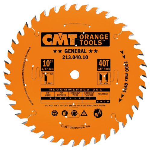 CMT 213.040.10 Industrial General Purpose Saw Blade, 10-Inch, Diameter, 40 Teeth, 5/8-Inch, Bore, 0.126 Kerf, 0.098 Plate, 20-Degree ATB Grind, 18-Degree Hook Angle