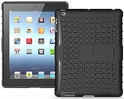 Heartly Flip Kick Stand Hard Dual Armor Hybrid Bumper Back Case Cover For Apple iPad Mini 2 and iPad Mini 3 Tablet With Retina Display - Black