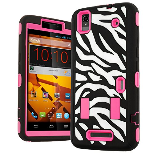 N9520 Case,ZTE Max Case,Heavy Duty Hybrid Shockproof Hard Soft Full-body Case Back Cover for Zte Max N9520 Boost (Zebra Printed Hot Pink) (Boost Max Phone Protective Cases compare prices)