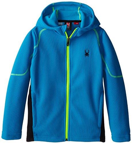 Spyder Boys Upward Full Zip Sweater, X-Large, Electric Blue/Black/Bryte Green