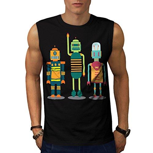 karikatur-roboter-party-kind-spass-herren-neu-schwarz-xxl-armellos-t-shirt-wellcoda