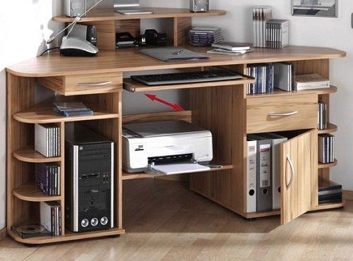 3-3-2-415: made in BRD – Eckschreibtisch, kernbuche – PC-Tisch – Bürotisch – Ecktisch online bestellen