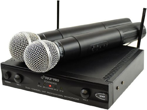 Pyle-Pro Pdwm2400 Wireless Dual Channel Uhf Microphone System With 2 Microphones