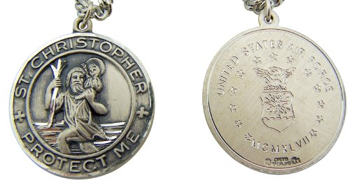 Sterling Silver 1-Inch Saint St Christopher Air Force Military Protection Medal