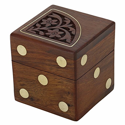 Handmade indian dice game set with decorative storage box includes 5