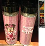 Disney Parks Minnie Mouse Mornings Travel Mug/Tumbler - Disney Parks Exclusive & Limited Availability + Arabica Single Cup Instant Coffee Included
