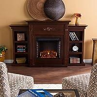 Tennyson Electric Fireplace w/ Bookcases - Glazed Pine