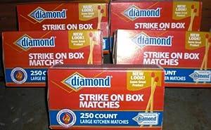 Diamond Strike on Box Large Kitchen Wooden Matches 250/box, 5 Pack (1250 Matches)