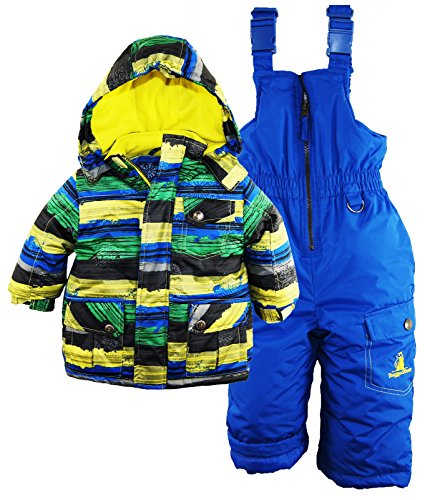Rugged Bear Baby Boys' Stripe Snowsuit, Black, 18 Months