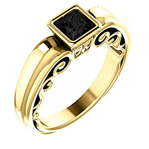 10K Yellow Gold Princess Cut Black Diamond Engagement Ring - 1 Ct.