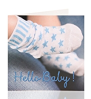 Baby Boy Socks Greetings Card