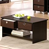 Furinno Center Coffee Table Bookcase Storage with Bin-type Drawers – Espresso Finish, 10003
