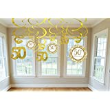 Amscan International Golden Anniversary Hanging Swirl Decorations, Pack of 12