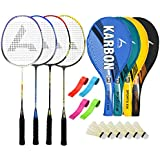 Guru KarbonBR03 Series-COMBO-2 Badminton Racquets Set Pack Of Four With Four Cover Six Shuttlecock & Four Hand...