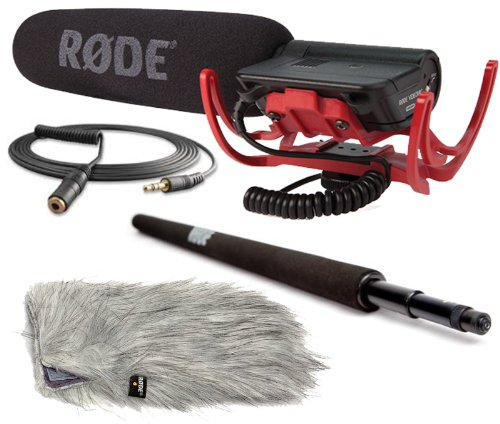 Rode Condenser Shotgun Video Mic with Rycote and Rode DeadCat Wind Sheild, Rode Micro Boompole and Rode 10′ Cable