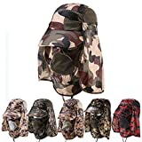 Bluecell UV 50+Protection Outdoor Multifunctional Flap Cap with Removable Sun Shield and Mask Perfect for Fishing Hiking Garden Work Outdoor Activities