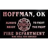 qy64040-r FIRE DEPT HOFFMAN, OK OKLAHOMA Firefighter Neon Sign Barlicht Neonlicht Lichtwerbung