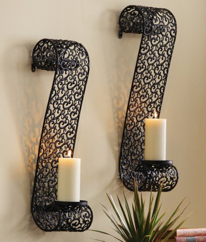 Decorative Black Metal Scrollwork Candle Holder Sconces By