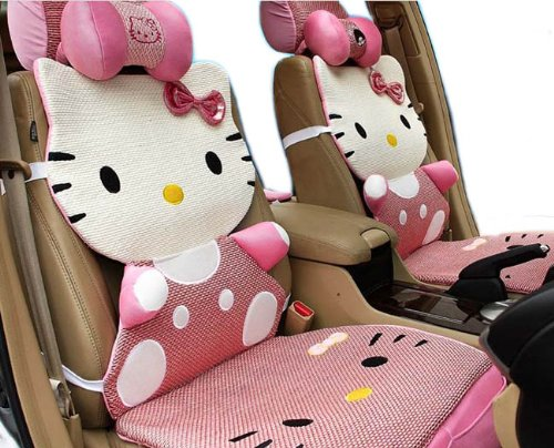 12pcs Kit Genuine Kitty Car Ice Silk Steering Wheel Front Seat Cover Cushion EMS Shipping ZJ000211