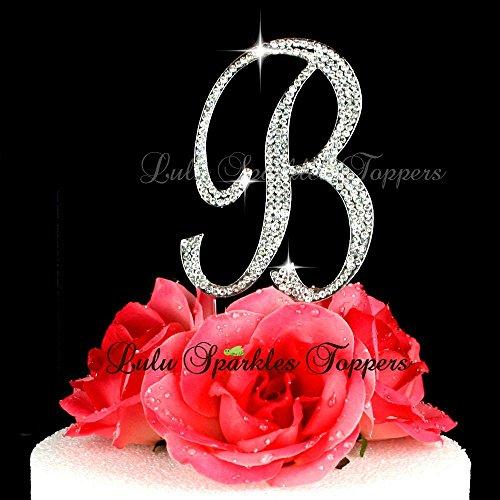 Crystal Rhinestone Cake Topper Letter B Script Font Large Size Intial B Cake Topper Custom Wedding Cake Topper