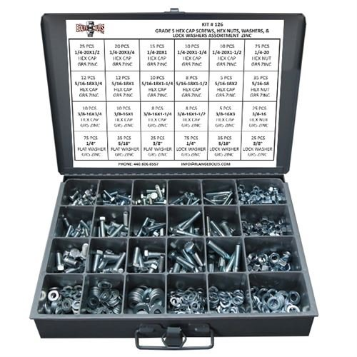 Grade 5 Hex Cap Bolts Screws, Nuts, Washers, Lock Washers Assortment Kit - 574 Pieces! (Sae Bolt Assortment compare prices)