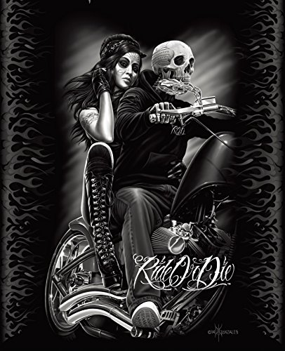 Ride or Die Motorcycle Biker Babe Queen Size Luxury Royal Plush Blanket 79x95 Inches