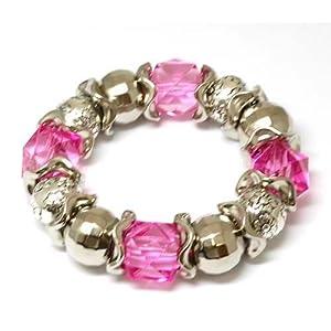 Chunky Fuschia Acrylic Crystal Bead Stretch Bracelet