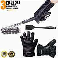 PerfectoChef BBQ Set - Clean any type of grill surface with the stainless steel grill brush - Protect your hands from heat with the Silicone Gloves and apply barbecue sauce with the basting brush