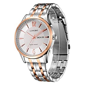 LONGBO Original Mens Rose Gold Stainless Steel Band Strap Business Numeral Analog Quartz Watches Auto Date Day Multifunction Couple Dress WristWatch