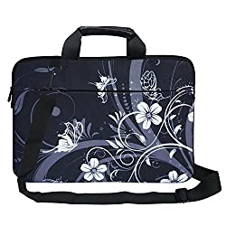 Meffort Inc 15 15.6 inch Canvas Laptop Computer Shoulder & Hand Carrying Bag Case - Black Gray Flower Butterfly
