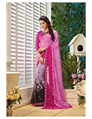AG Lifestyle Pink & Green Faux Georgette Saree With Unstitched Blouse AKS2013