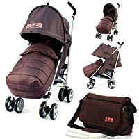 Baby Stroller Zeta Vooom Buggy Pushchair - Hot Chocolate (Brown) Complete With + Deluxe 2in1 footmuff + Changing Bag + Raincover from Zeta