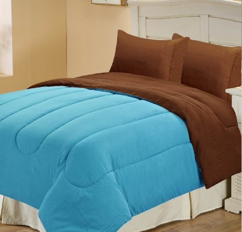 Chic Home Back To Campus Solid Reversible Comforter, Twin, Blue/Brown front-598518