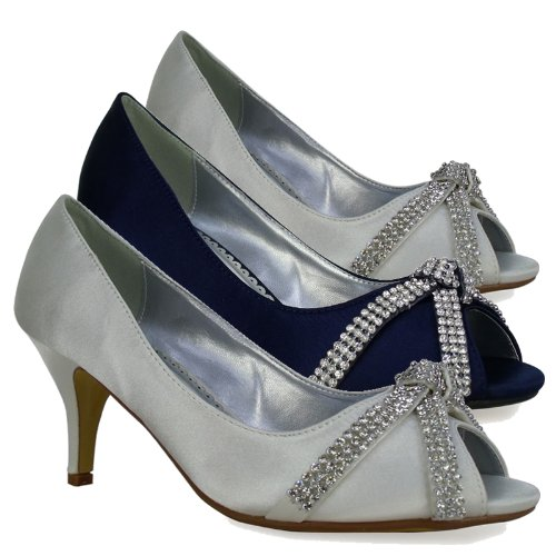 L3A Womens Silver Satin Low Mid Heel Diamante