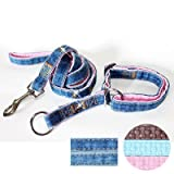 """Fab Denim"" Soft Leather Padded Slip-on Dog Collar & Leash Set - Medium, Pink"