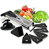 Culinary Cooking Tools Premium V-Blade Stainless Steel Mandoline Slicer - Fruit and Vegetable Slicer - Food Slicer - Vegetable Cutter - Potato Slicer - Vegetable Julienne - Includes 5 Inserts (BLACK)