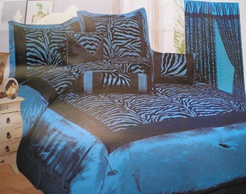 king size blue black zebra print bed in a bag safari bedding. Black Bedroom Furniture Sets. Home Design Ideas
