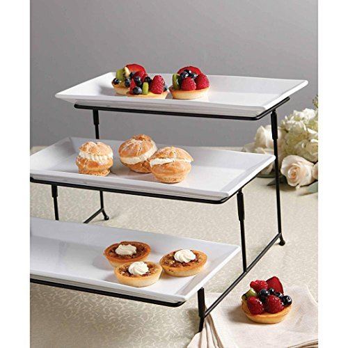 Serveware Display Plate Set with Metal Stand 3 Tier Party Dining Entertaining Events Platters Appetizing Food Display Rack (Buffet Server 3 Tier compare prices)