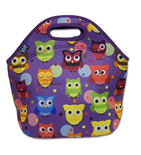 Reusable Neoprene Lunch Tote Bag - Large, Purple Owls