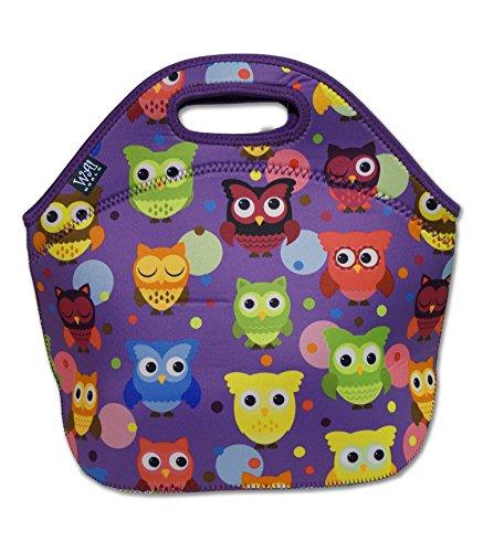 Reusable Neoprene Lunch Tote Bag - Large, Purple Owls