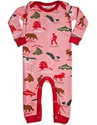 Wild And Cozy by Hatley - Baby Girls Long Sleeve DREAMING OF ALASKA Coverall, Pink, Red 29053-6-12Months