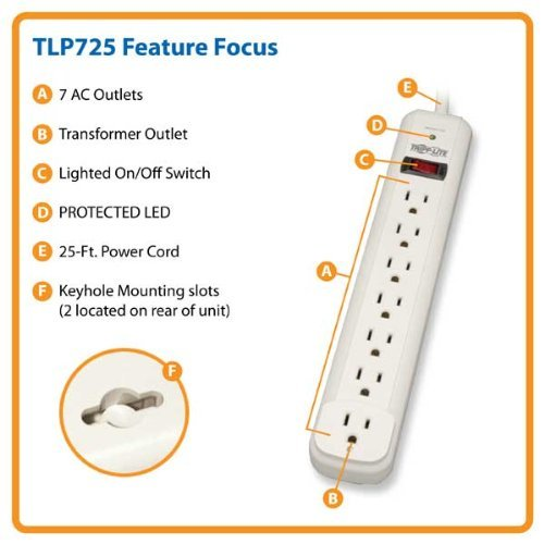 Tripp Lite TLP725 Surge Protector Strip 120V 7 Outlet 25ft Cord 1080 Joule PC, Computer, Hardware cheapest price stand for lcd monitor or computer all in one pc