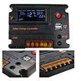 Mohoo 20A 12V 24V Auto Switch LCD Intelligent Solar Panel Battery Regulator Charge Controller Overload Protection Temperature Compensation