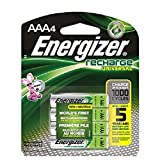 Energizer Rechargeable AAA Batteries, NiMH, 700 mAh, Pre-Charged, 4 count (Recharge Universal)