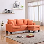 Modern Linen Fabric Small Space Sectional Sofa with Reversible Chaise (Orange)