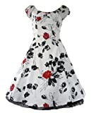 H&R London 50's vintage red rose white dress