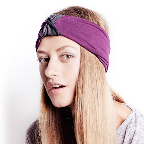 The Original BLOM. Patent Pending Headband for Sports or Fashion, Yoga or Travel. 30 Day Happy Head Guarantee. Super Comfortable. Designer Style & Quality. Charcoal & Lava.